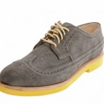 Walk-Over Shoes Grey Wingtip Brogues Yellow Sole