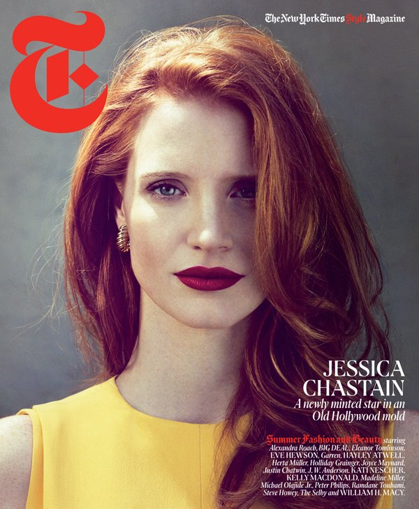 Jessica Chastain T Magazine Yellow top