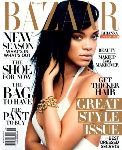 Rihanna Harper's Bazaar August 2012 Cover celeb fashion