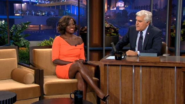 Viola Davis Orange Tangerine Dress Tonight Show Jay Leno Fashion