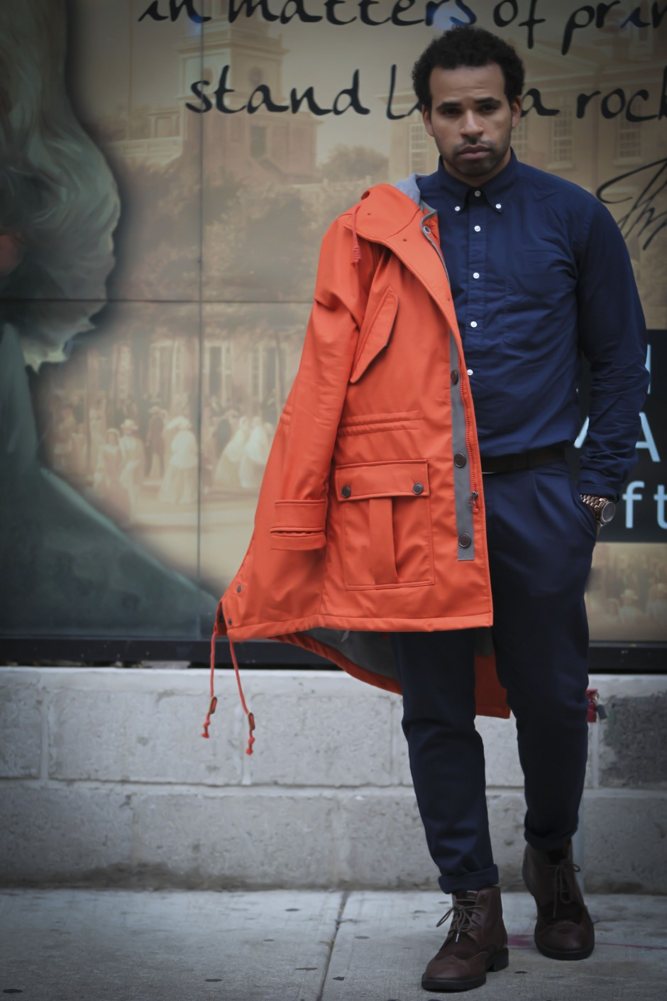todd snyder gap gq orange parka menswear quentin