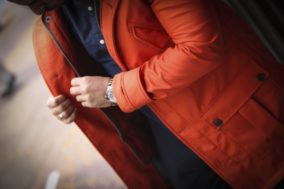 todd snyder gap gq orange parka fashion menswear uva virginia