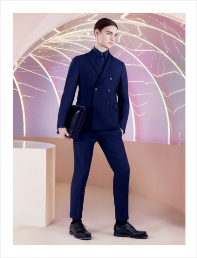 menswear, mens fashion, fashion, models, ad campaigns, spring 2013, ss13, blue suit, double breasted