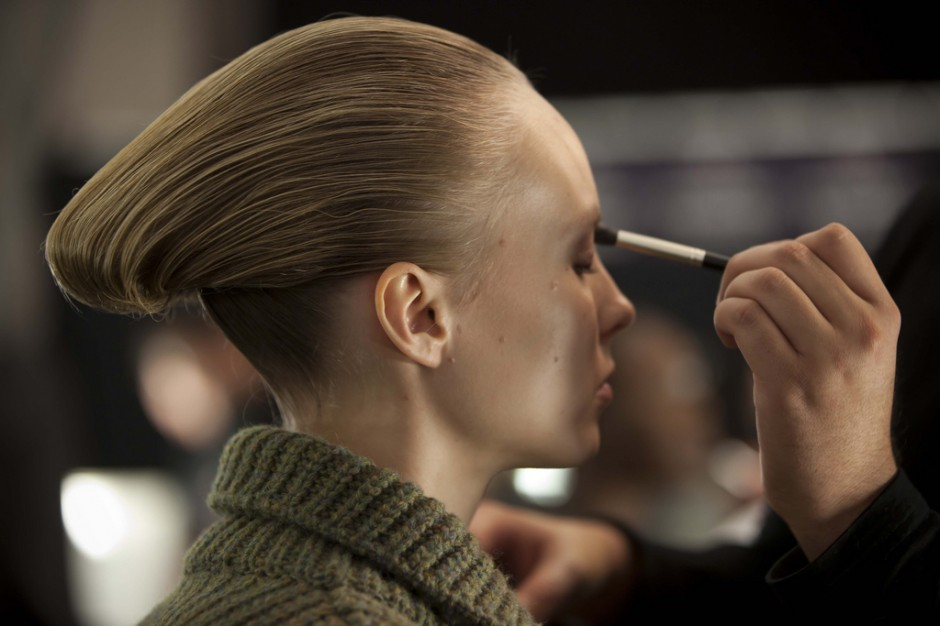 backstage, hair, makeup, beauty, ralph rucci, chado, fw13