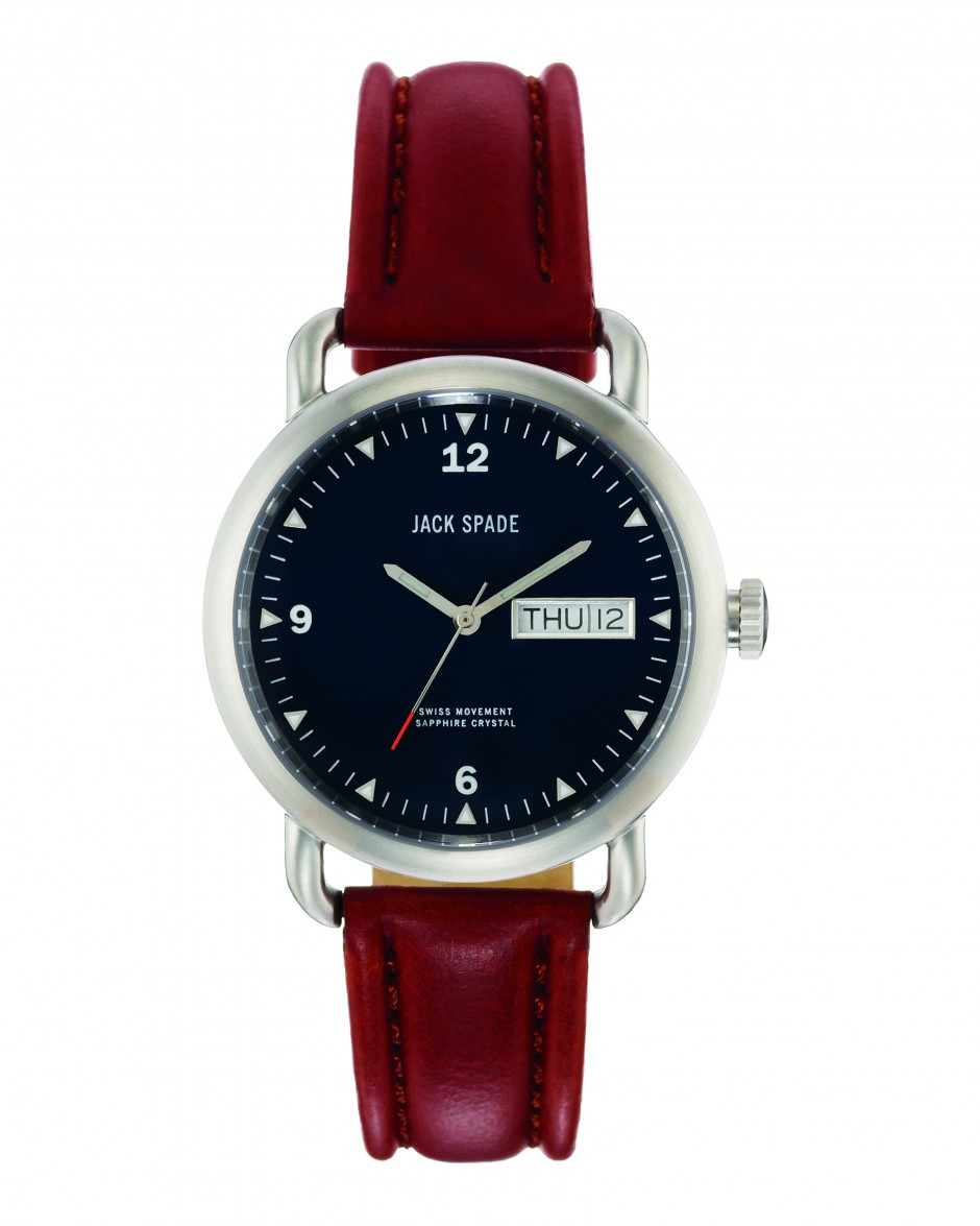 jack spade watch, watch with brown leather, timepieces,