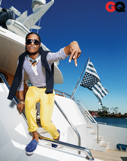 a$ap rocky, hi-hop, nautical, wear it now, asap rocky gq, asap rocky yellow pants, tom ford